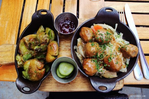 Helga's meatballs at Red Rooster in Harlem, New York