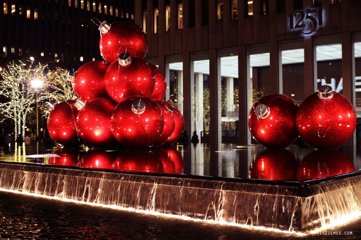 Giant Christmas ornaments 6th Avenue New York
