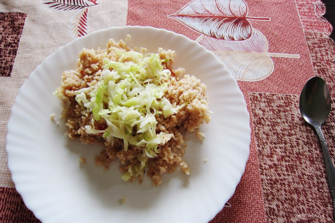 Fried rice with cabbage, Kenya food