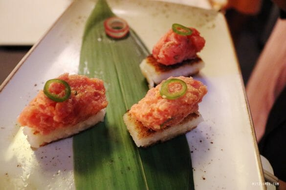 Crispy rice with spicy tuna at Katsuya
