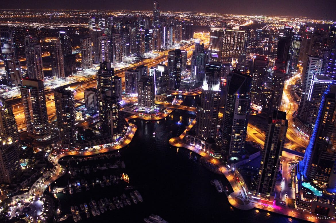 Dubai Marina night view from The Torch