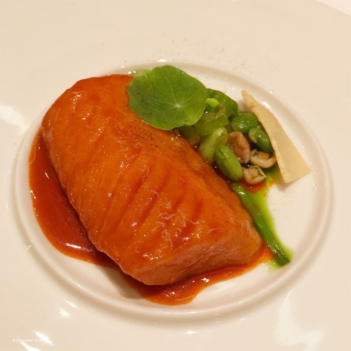Black cod with red pepper soy and bamboo shot, Jungsik, New York City
