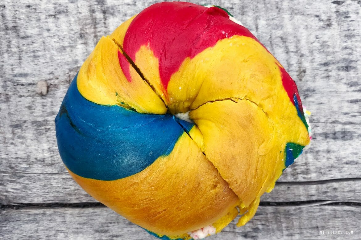 Rainbow bagel at The Bagel Store