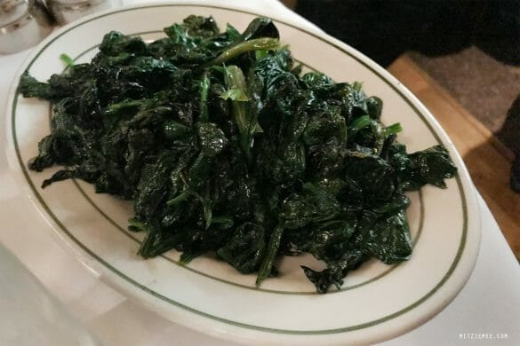 Sautéed spinach at Smith & Wollensky, New York