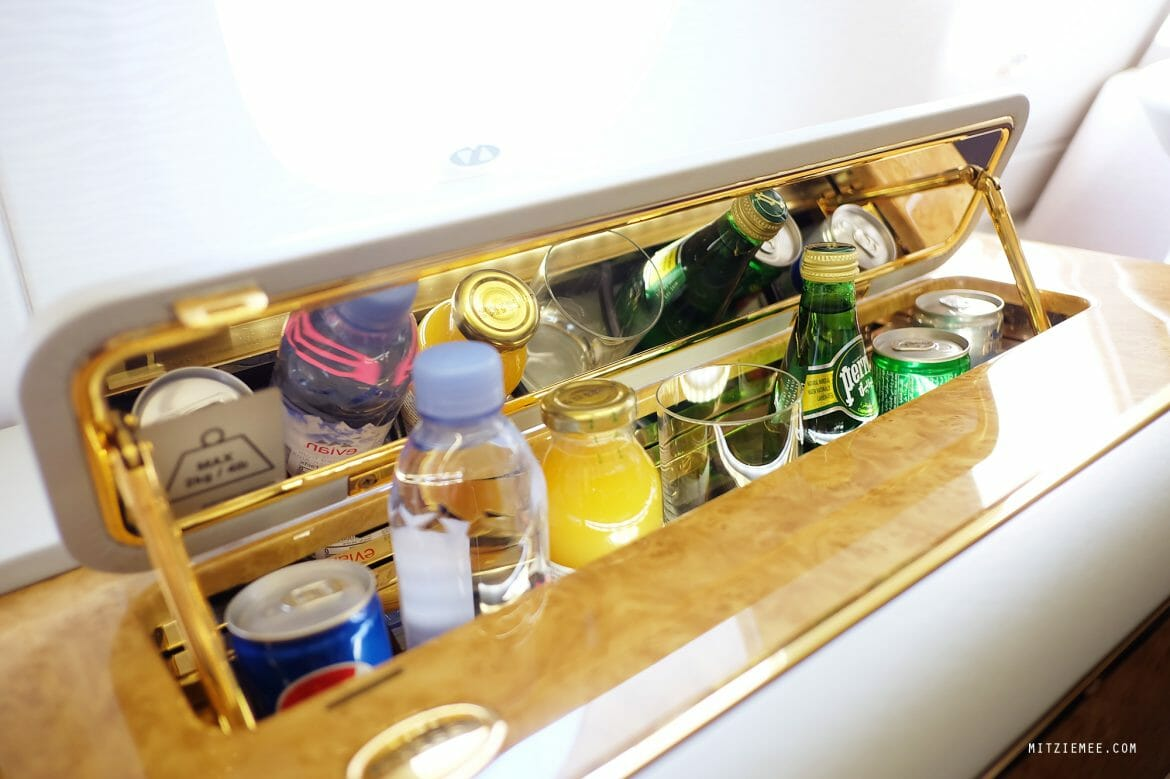 Emirates Airbus 380 First Class suite, minibar