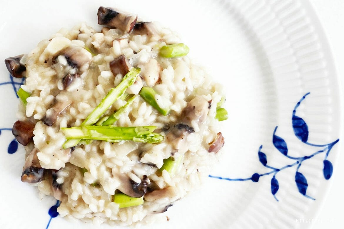 Risotto with mushroom and asparagus