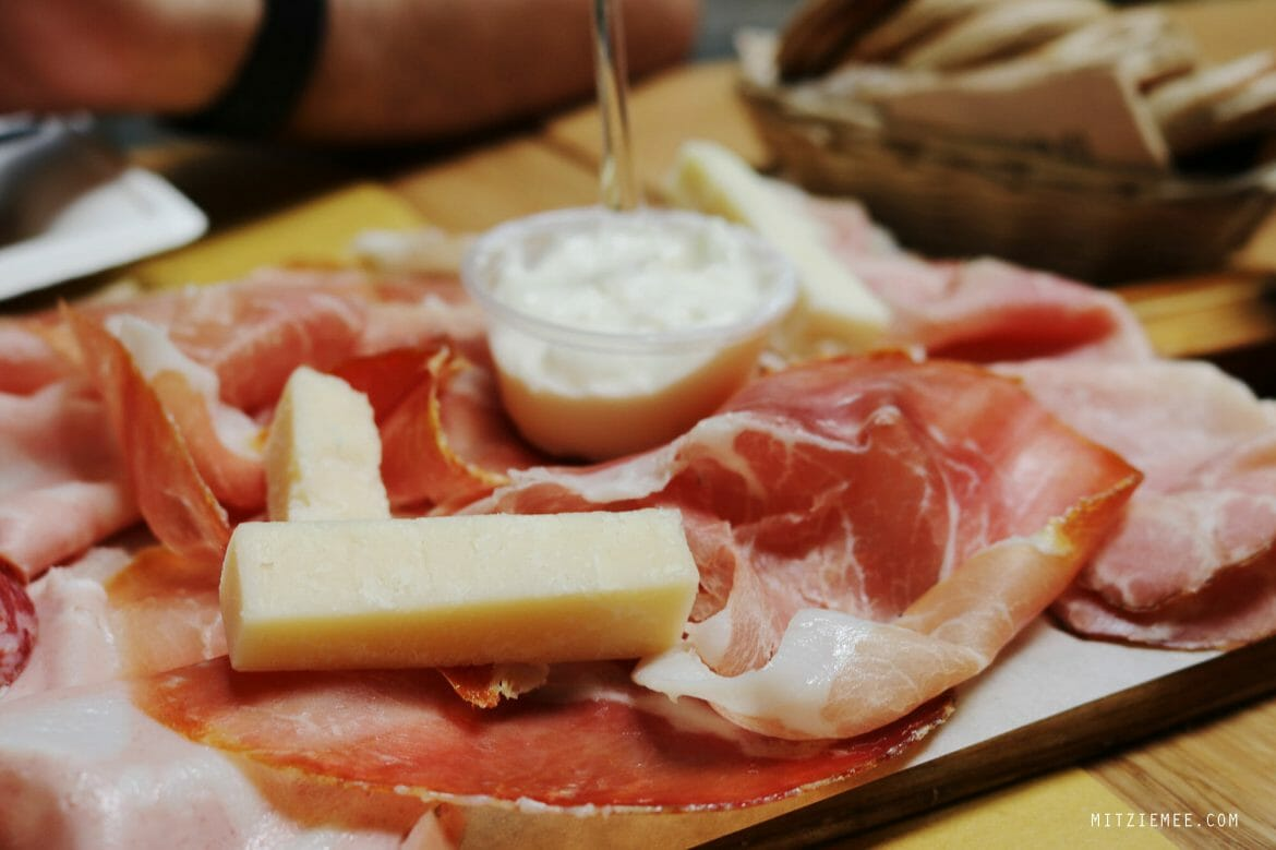 Prosciutto and cheese at Roxy Bar, Bologna