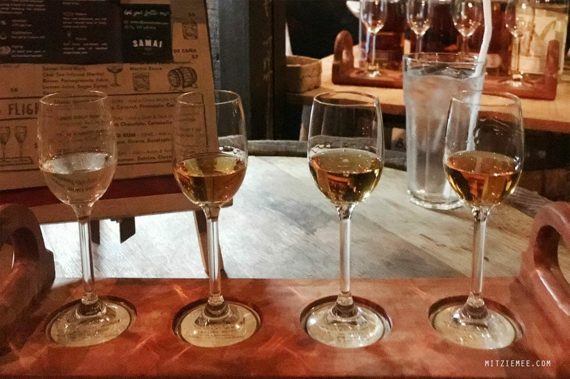 Rum flight at Samai Distillery, Phnom Penh