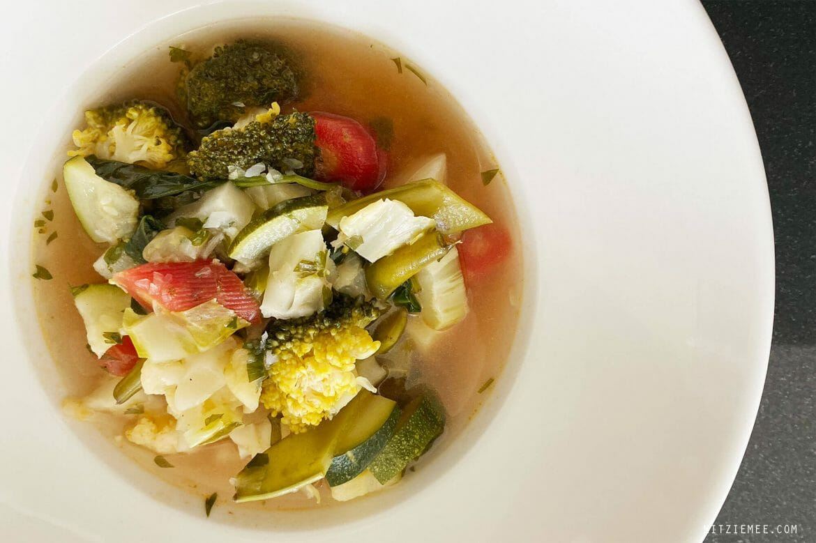 Vegetable soup, plant-based lunch