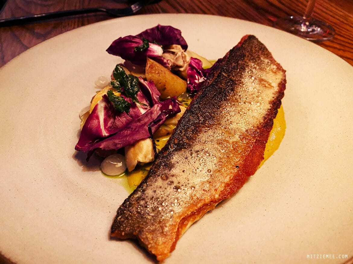 Pan-fried branzino at Common Lot, Millburn, New Jersey