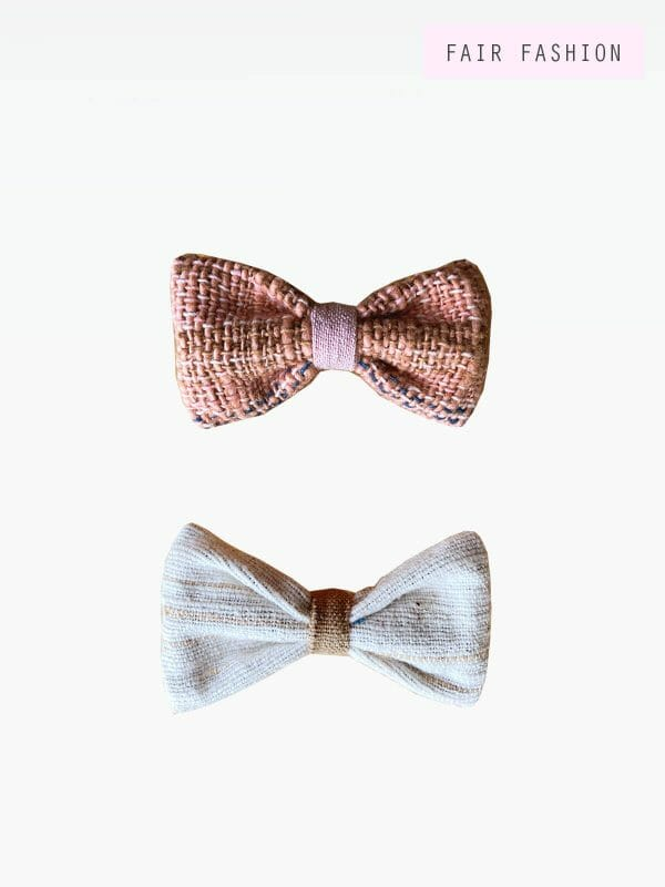 Small hair bow, sand/pink, handwoven cotton
