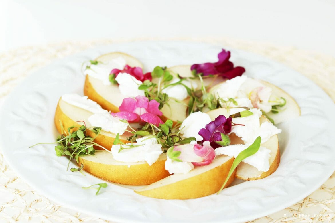 Salad with chevre and Korean pear